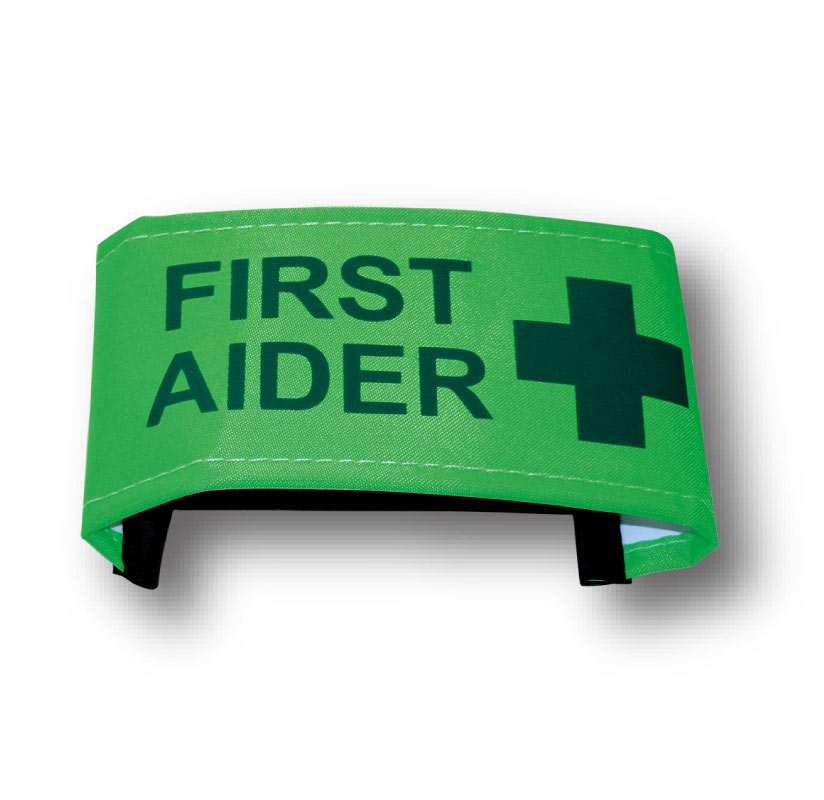 First Aider Nylon Armbands With Fixed Elastic Closing. Various Sizes.
