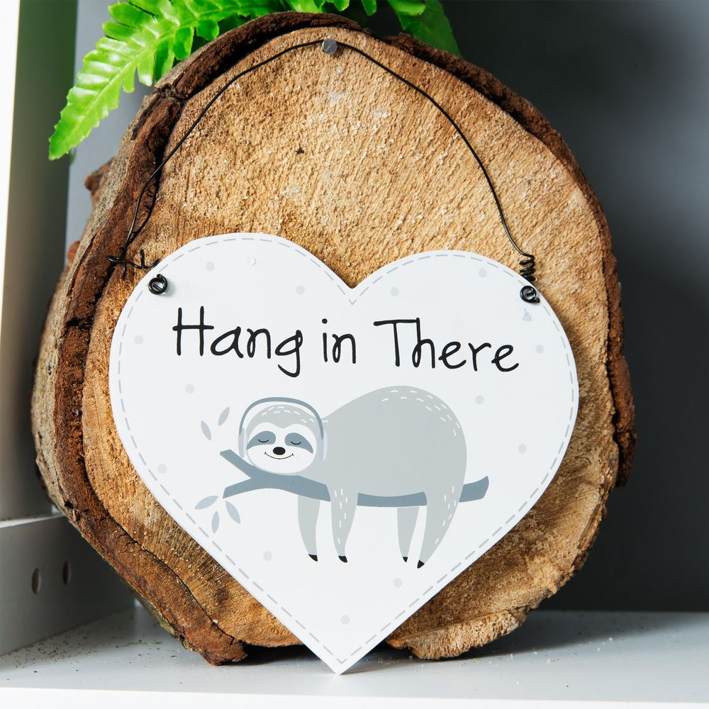 Animal Friends Heart Shaped Sloth Plaque - Hang in There