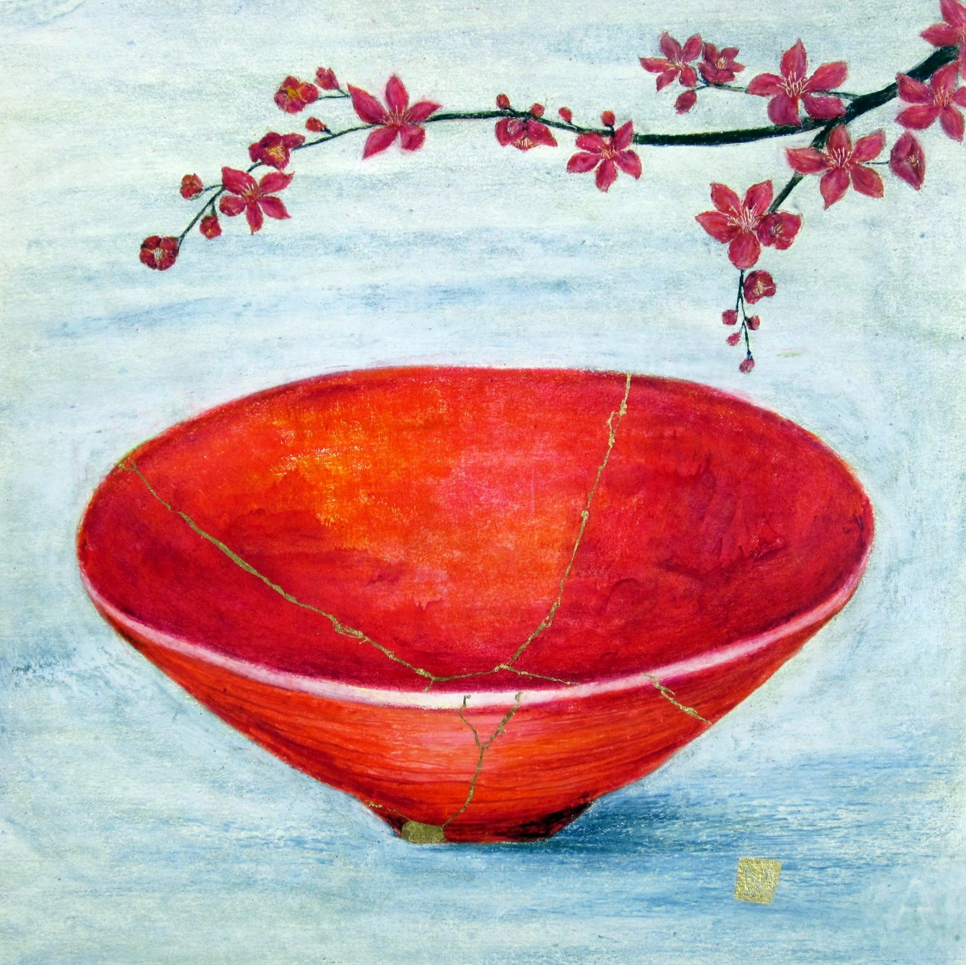 Contemporary painting of a red orange vermillion kintsugi bowl with peach blossoms and  gold repair.