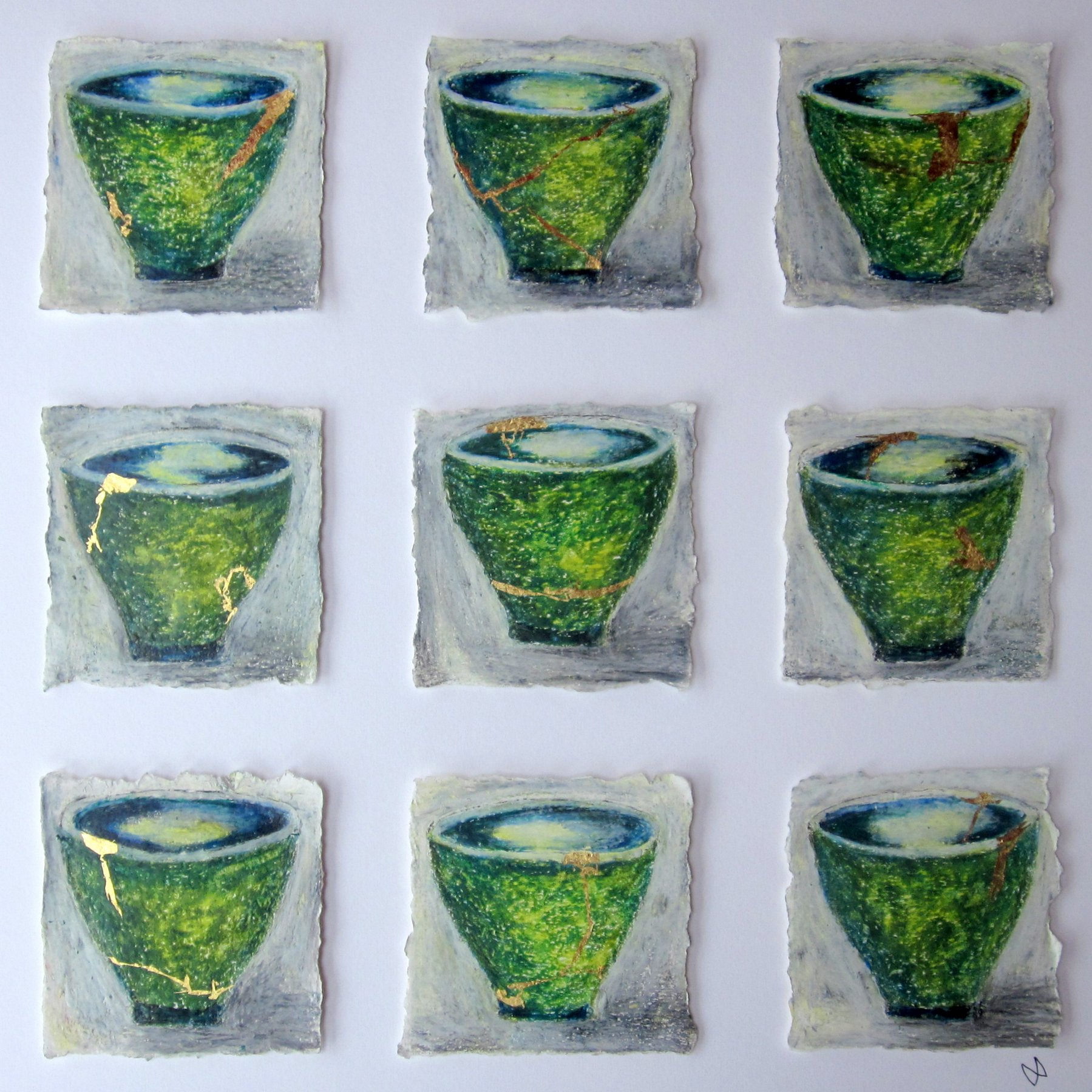 Nine green kintsugi tea bowls with gold repair