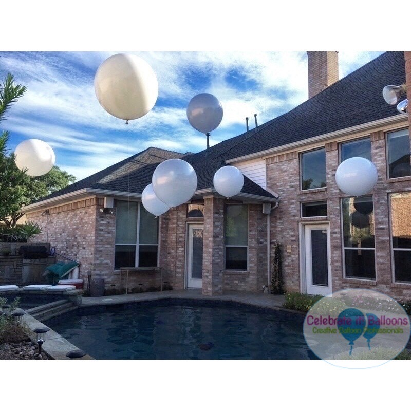 3ft balloons for outdoor baby shower floating in pool