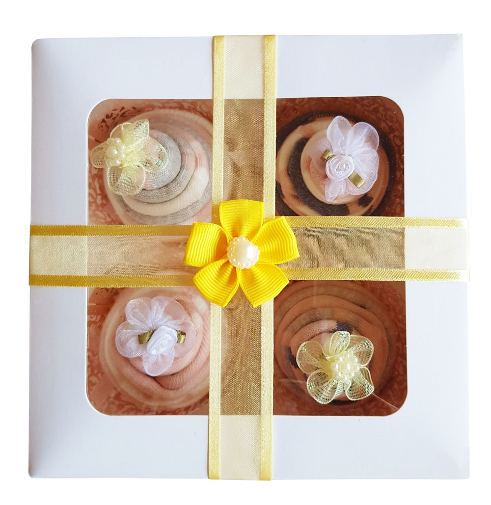 Women's Sock Cupcakes, Yellow Ribbon Gift Box