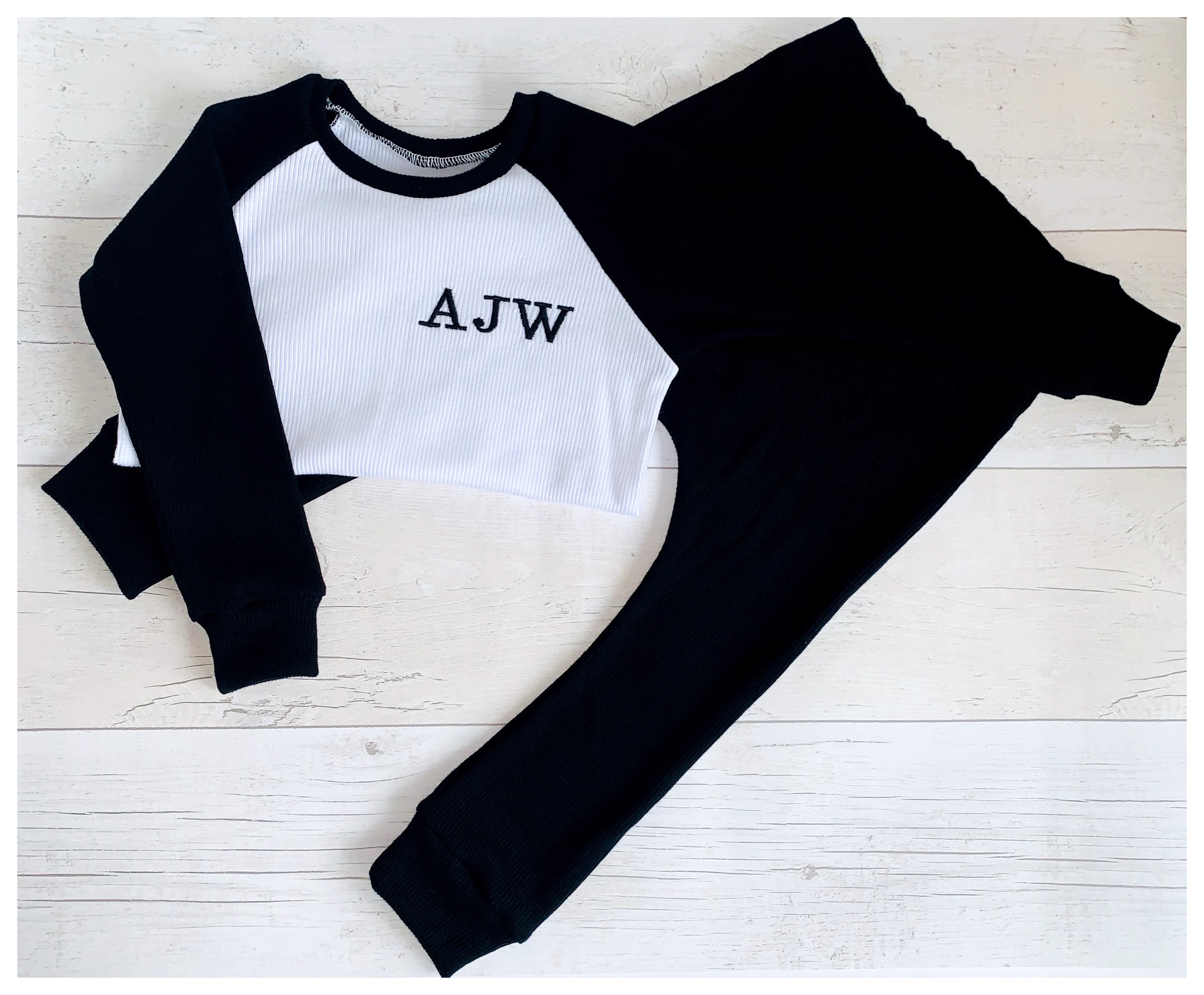 Black Raglan Ribbed Set