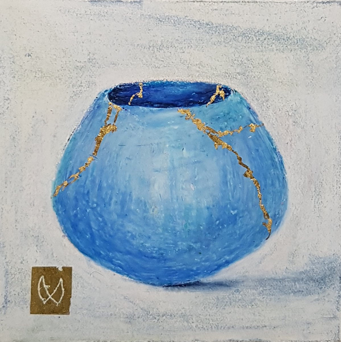 painting of Japanese kintsugi tea bowl with gold by Irish artist light blue
