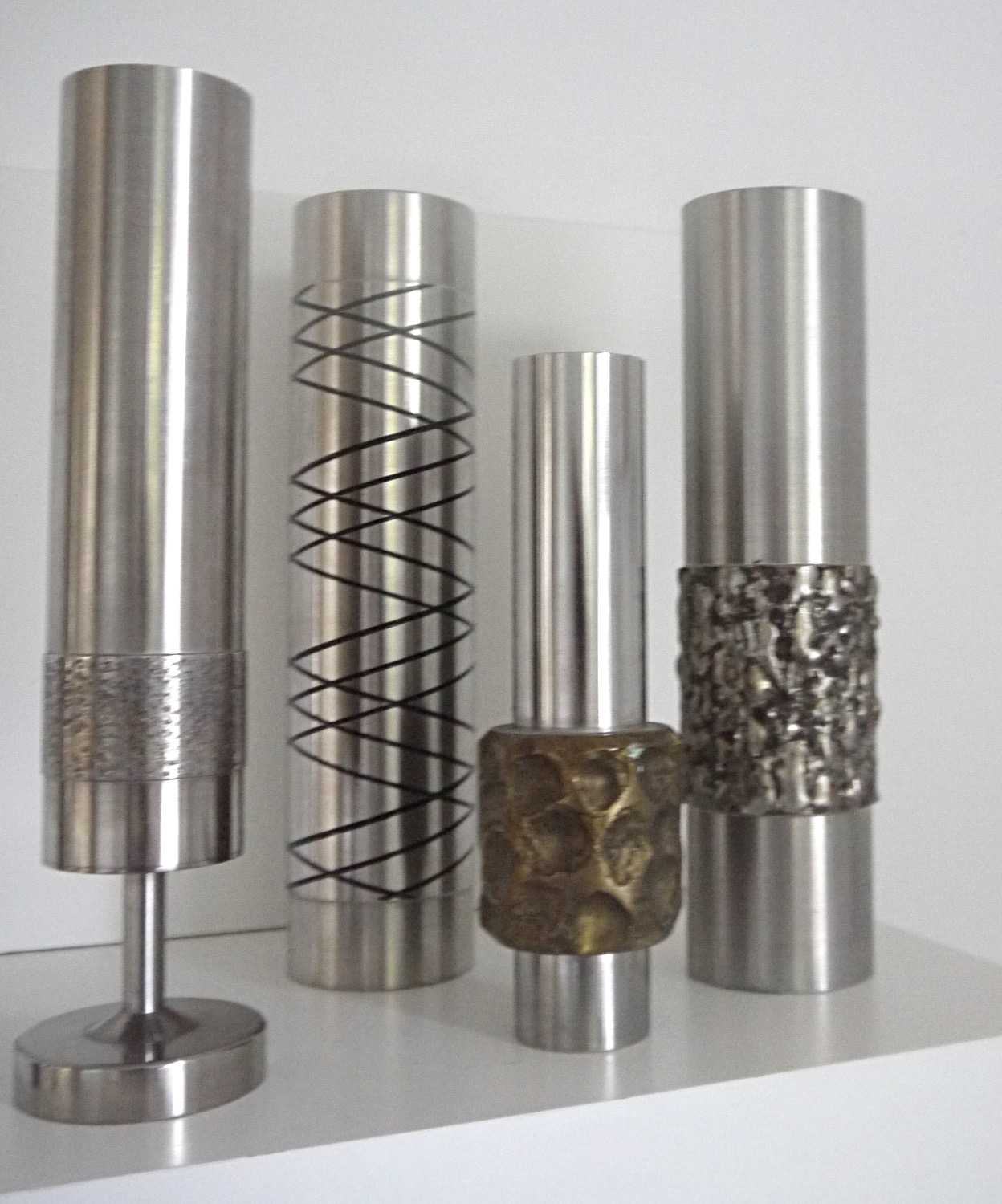 Four Piece Collection Danish Stainless Steel Brutalist Sculptures 1960s
