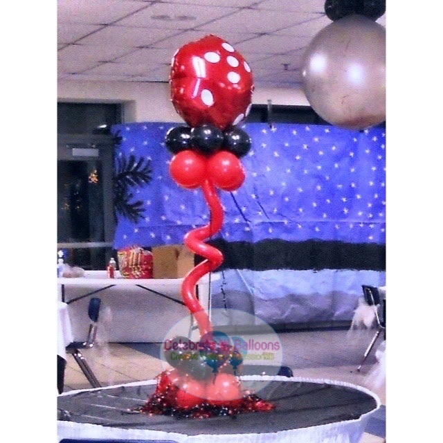 Casino themed dice balloon centerpiece