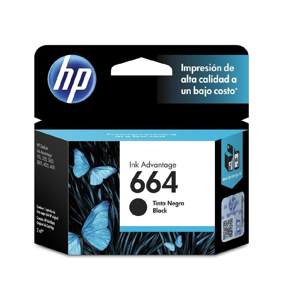 CARTUCHO HP 664 NEGRO, ESTANDAR