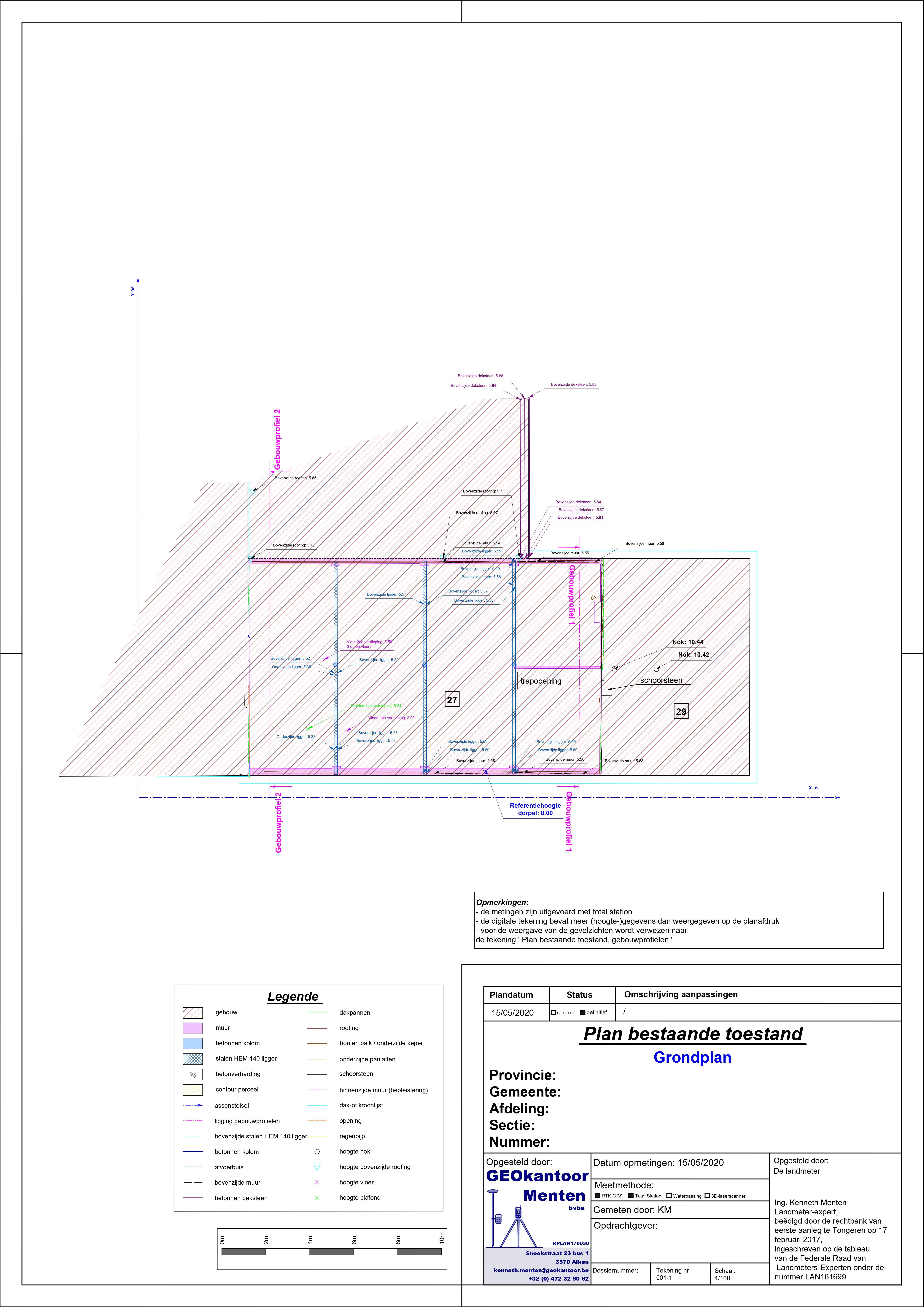 Plan bestaande toestand na sloop dakconstructie grondplanjpg
