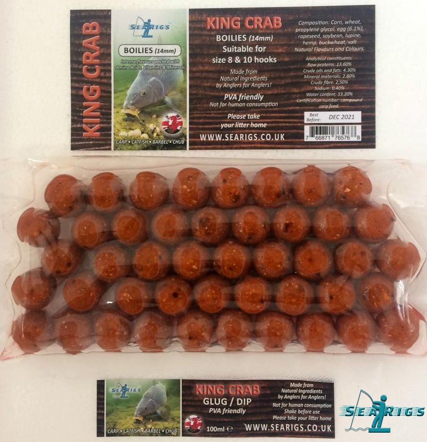 "02 KING CRAB READY GLUGGED ""AMINO BOOSTED"" BOILIES - 14mm PVA FRIENDLY"