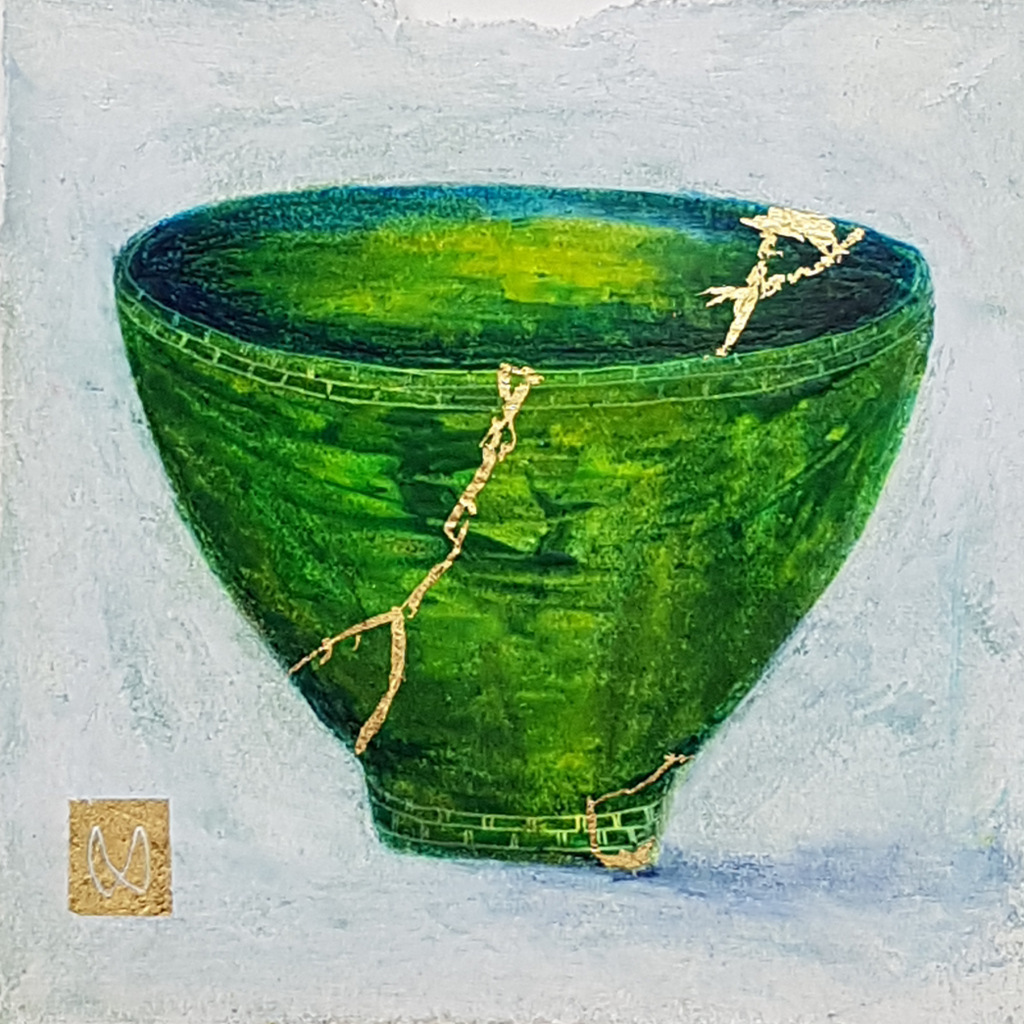 Painting of a green tea bowl. Kintsugi repaired with gold.