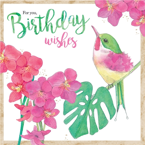 Kaart Birthday Wishes + thee - NIEUW