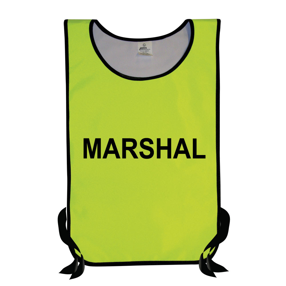 Nylon Hi Vis Yellow Marshal 's Tabards.
