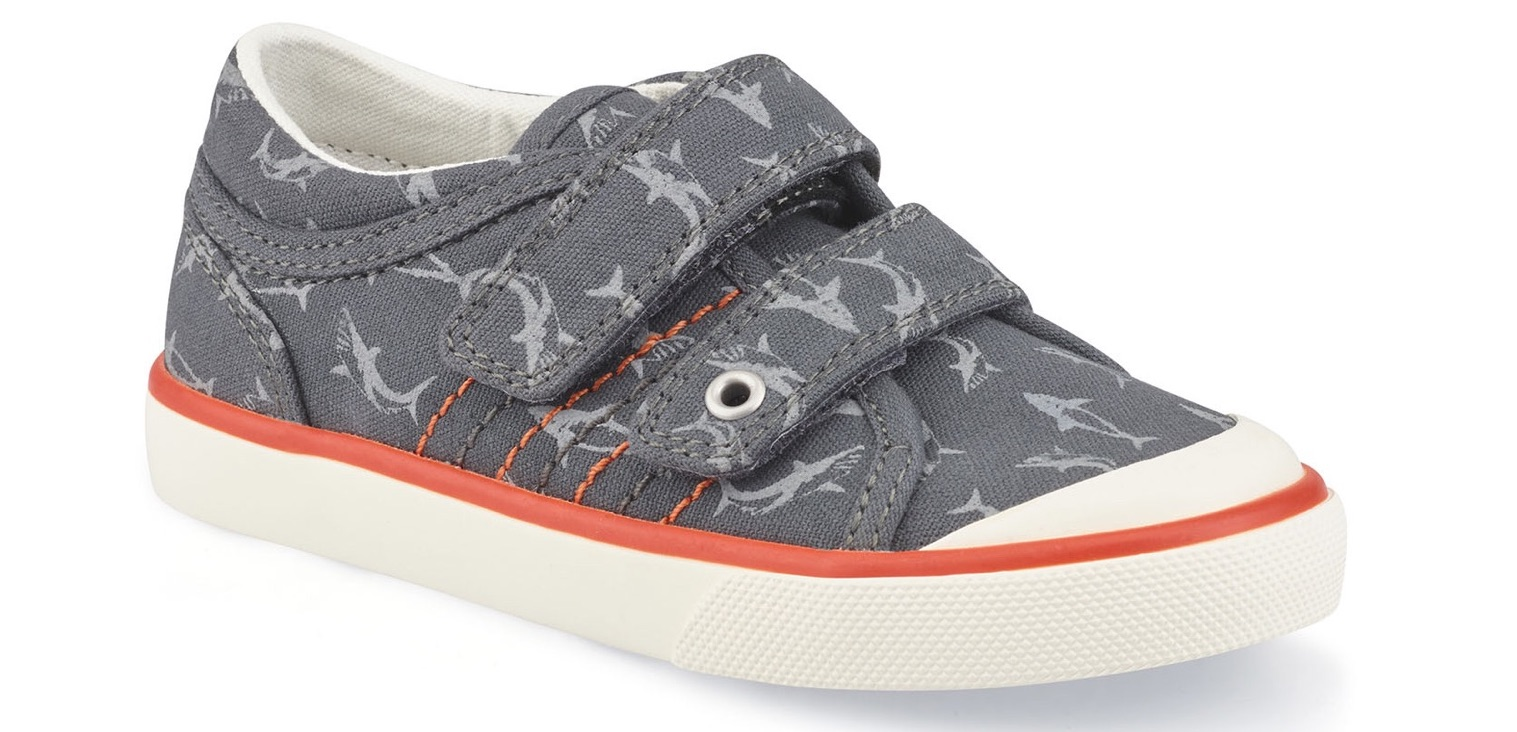 Start Rite grey canvas trainers for young boys with dolphin motif