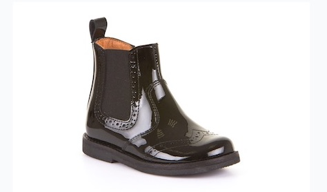 Patent leather Chelsea boots for boys with elastic side inserts