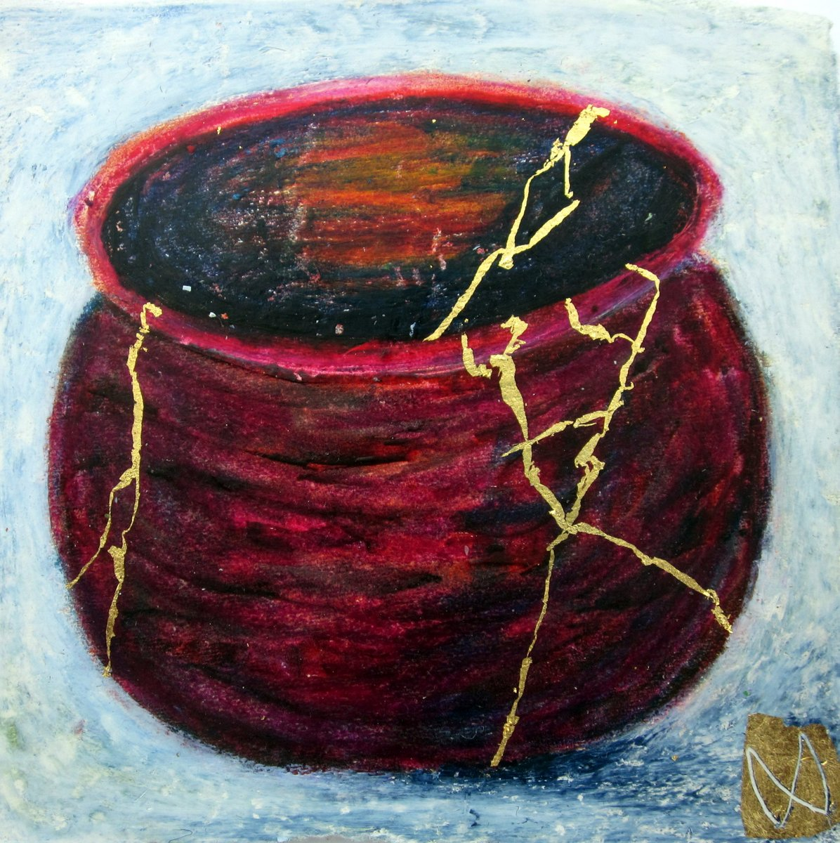 painting of Japanese kintsugi tea bowl with gold by Irish artist red maroon