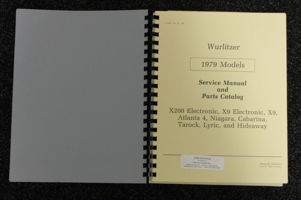 Wurlitzer Service Manual and Parts Catalog 1979 models