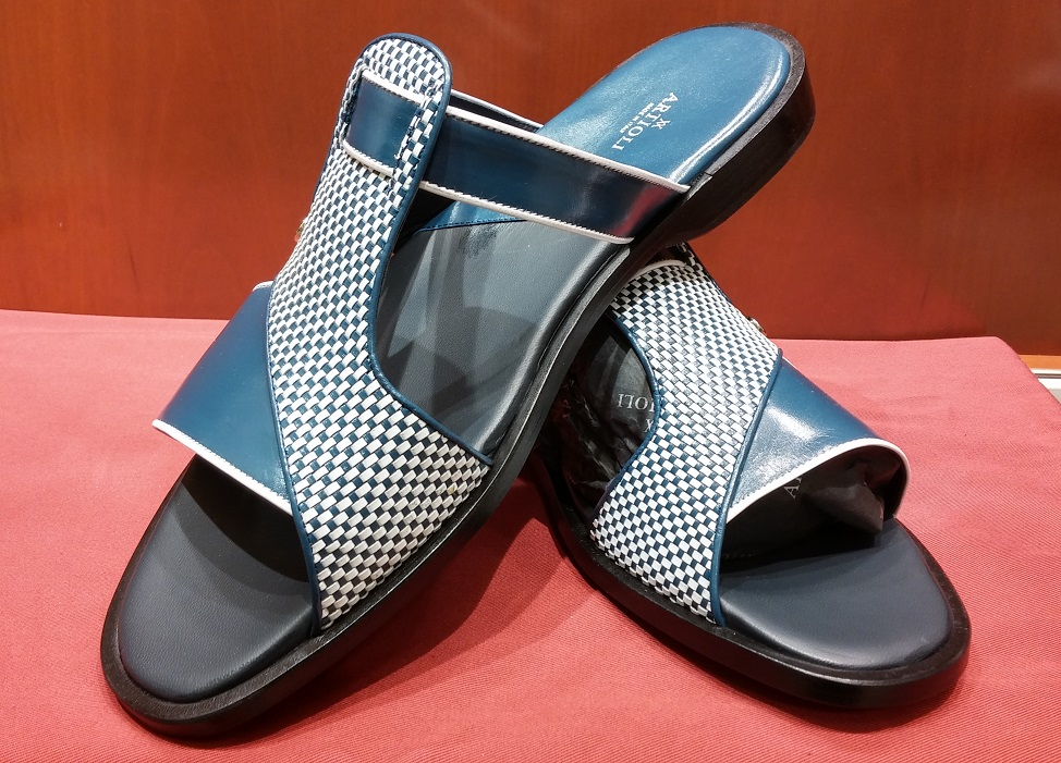 Sandal Style 104 Blue & White Leather