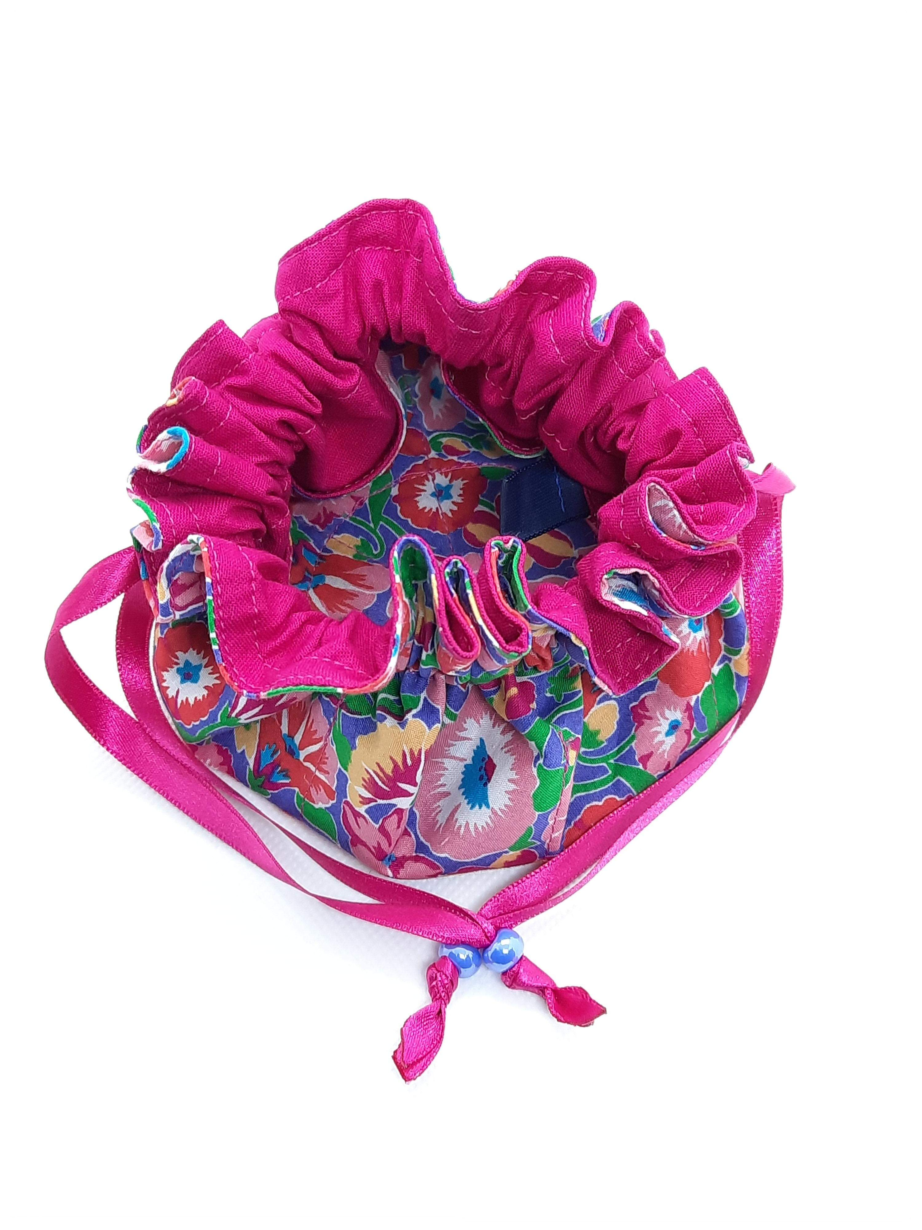 Jewellery Pouch - pink lining, pink ribbon, purple bead