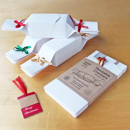 6 Reusable Christmas Crackers - White with a choice of ribbon colours - & FREE tags