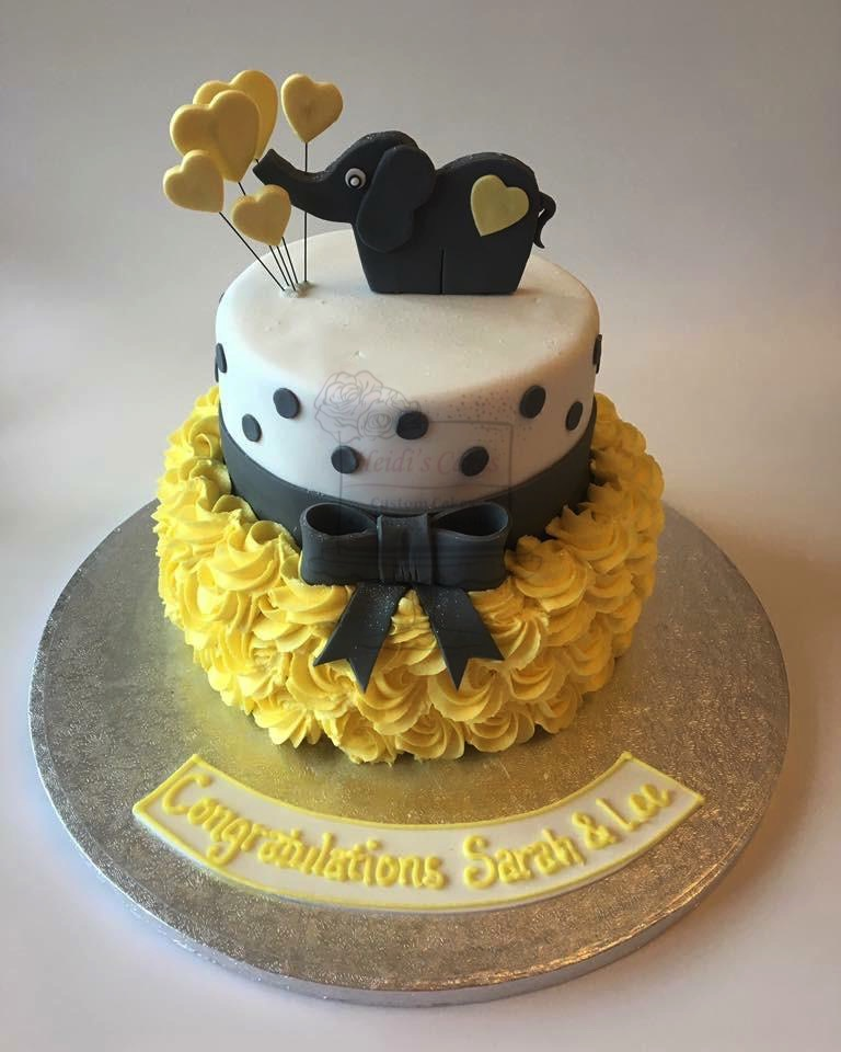 Elephant Buttercream Yellow/Grey 2 Tier