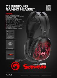 Marvo Scorpion HG9049 7.1 Virtual Surround Sound 7 Colour LED Gaming Headset
