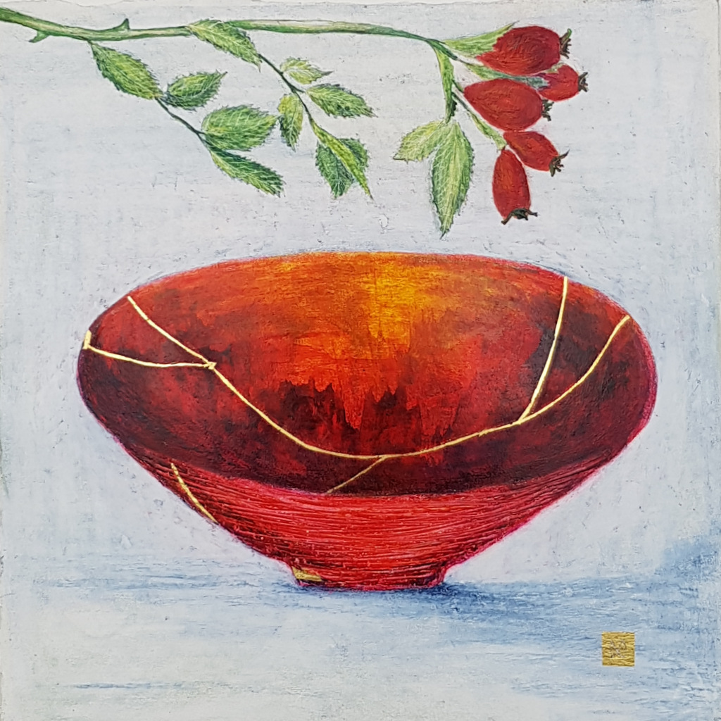 Contemporary painting of a red orange kintsugi bowl with rose hips and  gold repair.