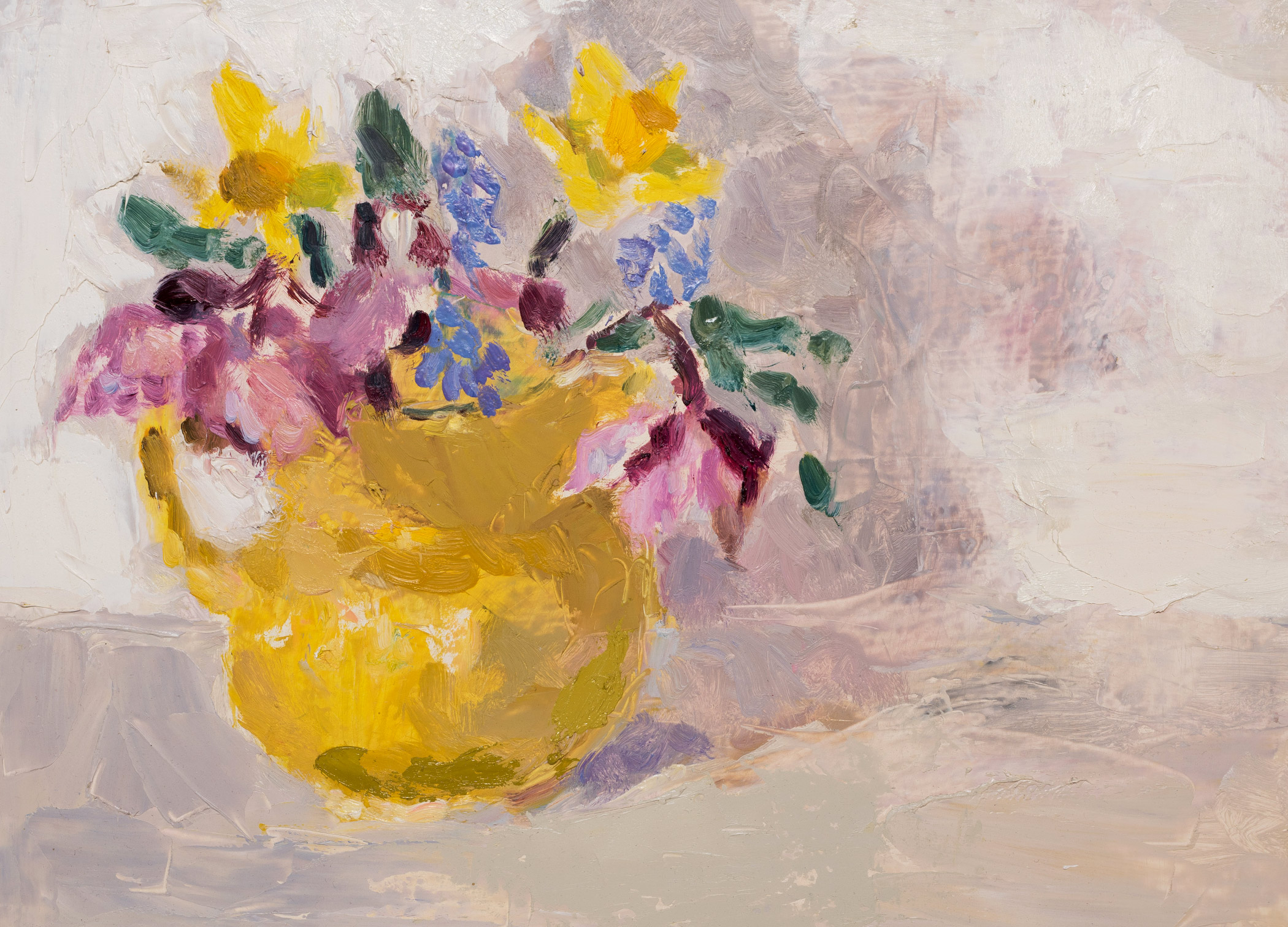 Spring Flowers in a Yellow Jug 2