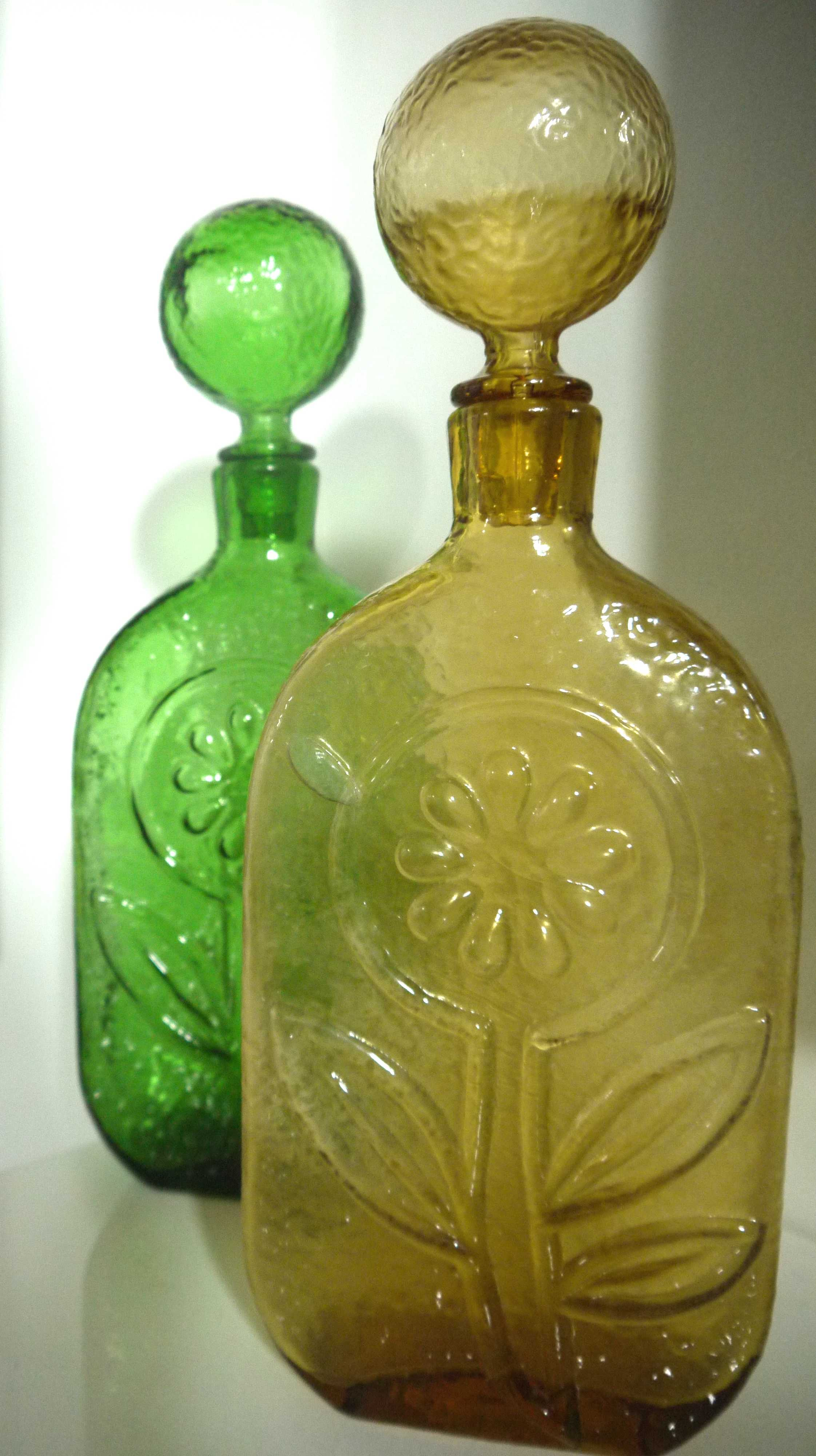 Green and Amber Italian Empoli decanters