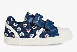 Baby girls Geox blue sneakers with flower pattern