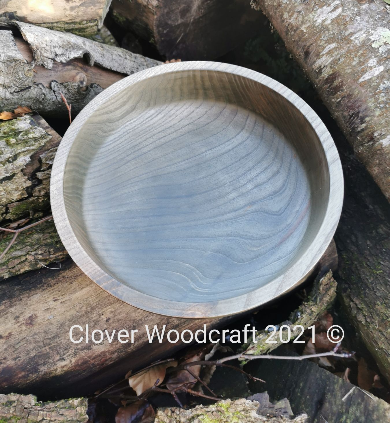 Irish Ash Wood Turned Salad Bowl with Ebonised Finish