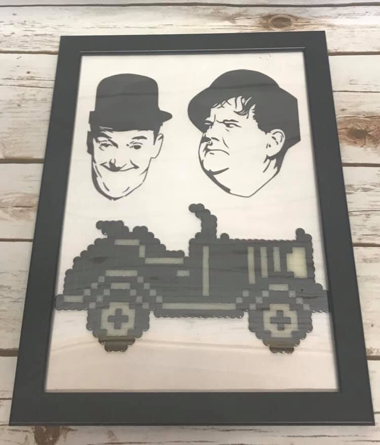 Laurel & Hardy Glow in the Dark Car A4 Frame