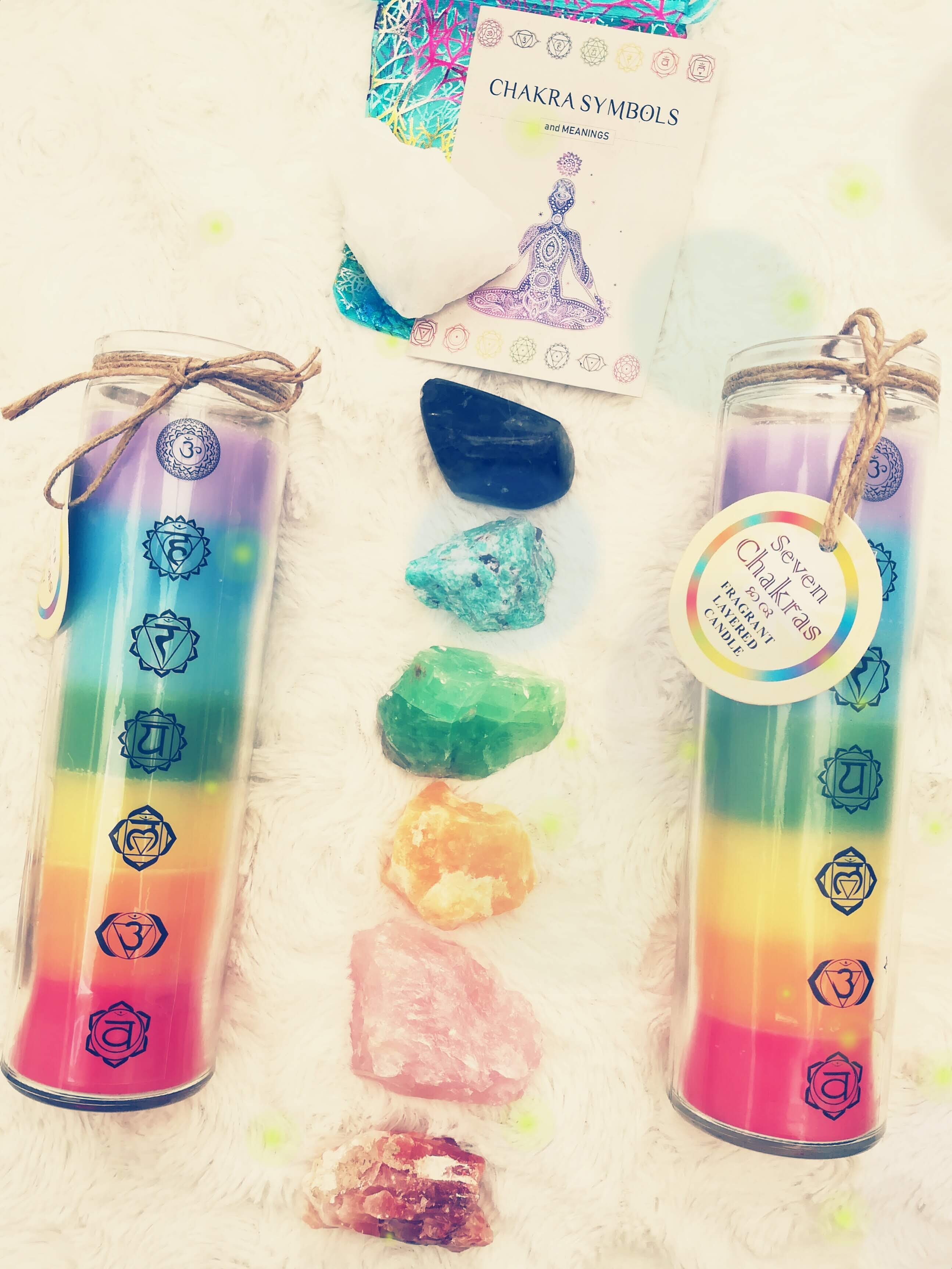 Chakra Set Raw Crystal Chunks /Soothing Lavender Candle.
