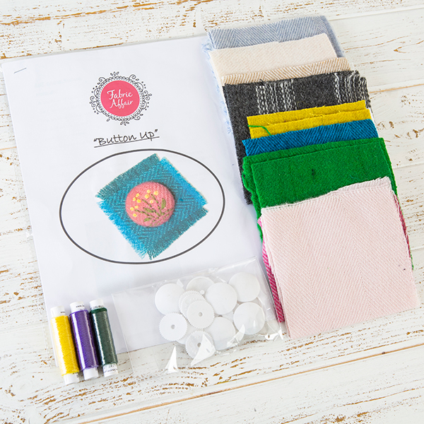 "Fabric Affair ""Button Up"" Hand Sewing Covered Button Kit ."