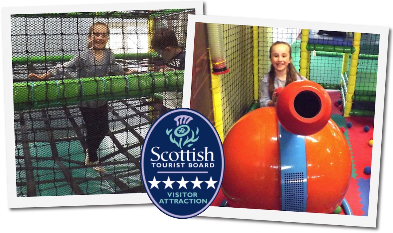 The Indoor Soft Play Area at Dalscone Farm Fun, Dumfries includes climbing frames, slides and soft ball cannons.