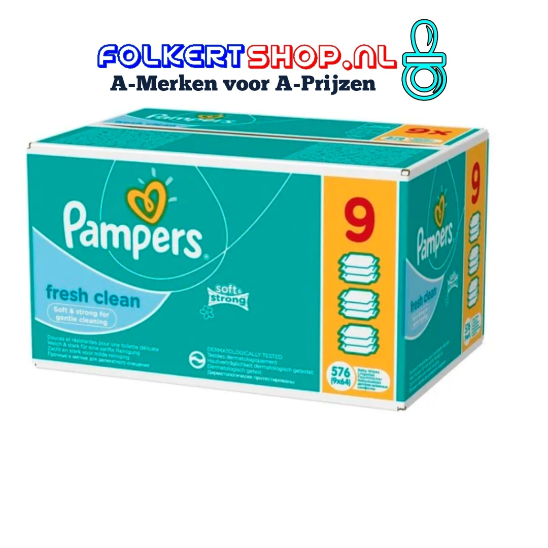 Pampers fresh clean baby doekjes 9x