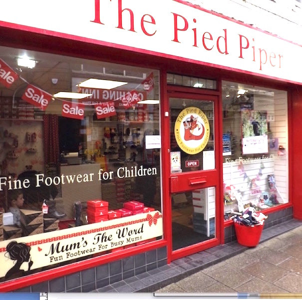 Exterior view of The Pied Piper Children's Shoe Shop in Dumfries