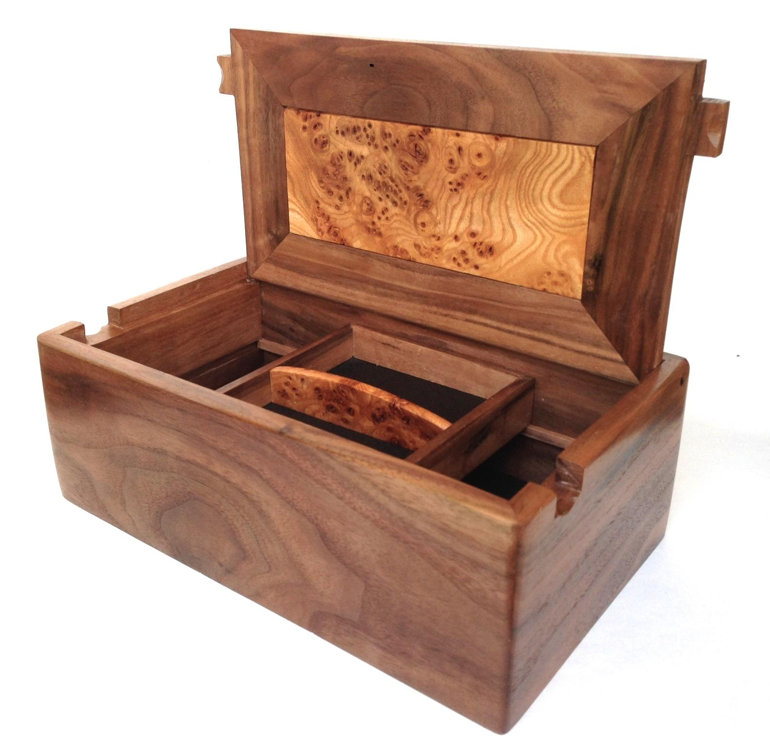 Hidden Heart Fine Wooden Valet Or Desk Top Box Handmade In Walnut