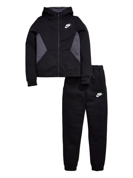 Nike NSW Core Suit Set Black-Charcoal Grey-White