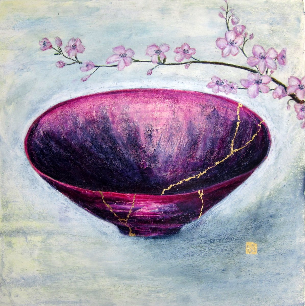 Contemporary painting of a indigo purple pink kintsugi bowl with cherry blossoms and  gold repair.