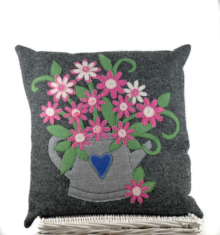 "Donegal Tweed by Fabric Affair: ""Daisies in The Can"" Cushion Kit."