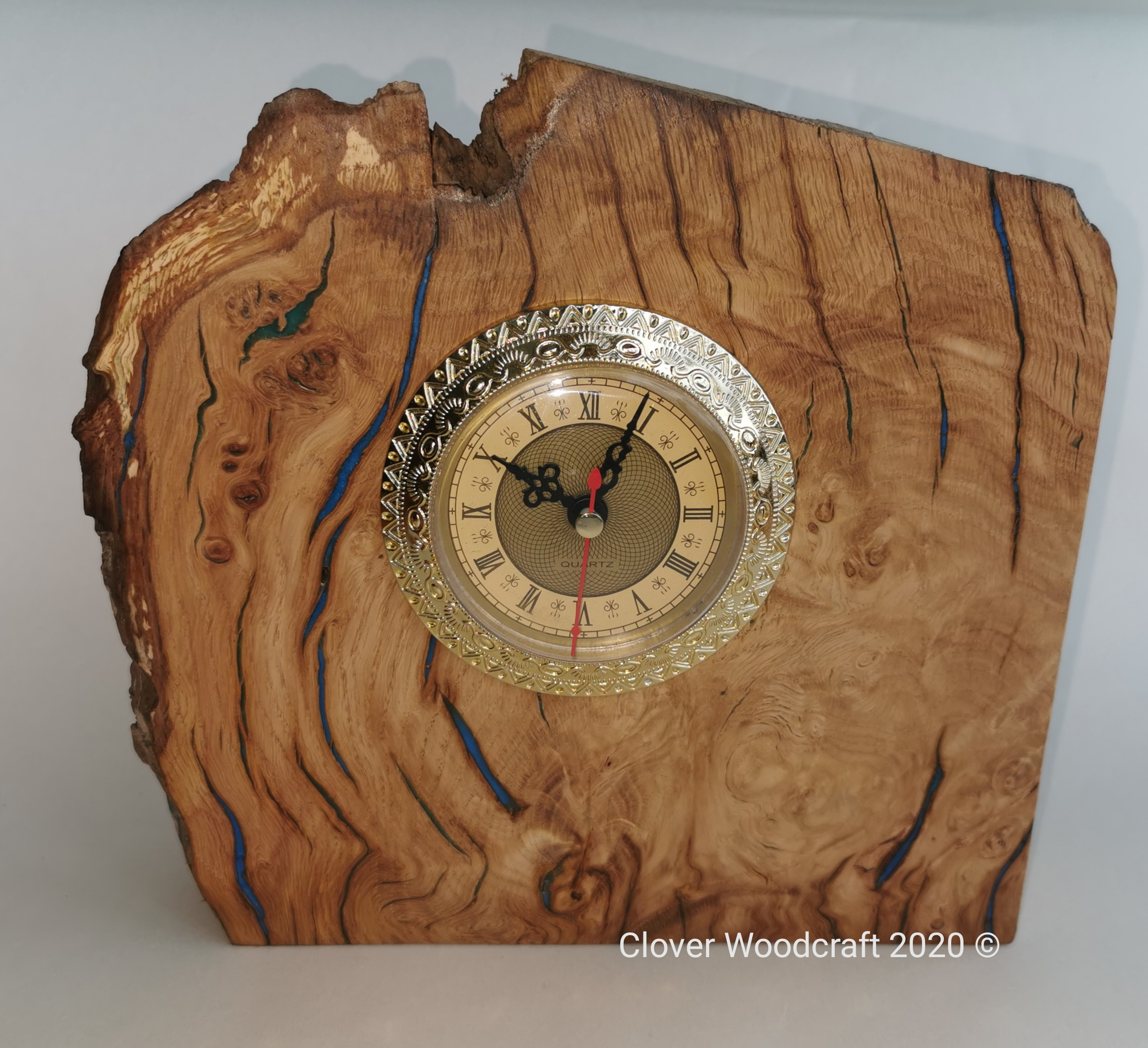 Irish Burl Oak Wood and Epoxy Mantel Clock