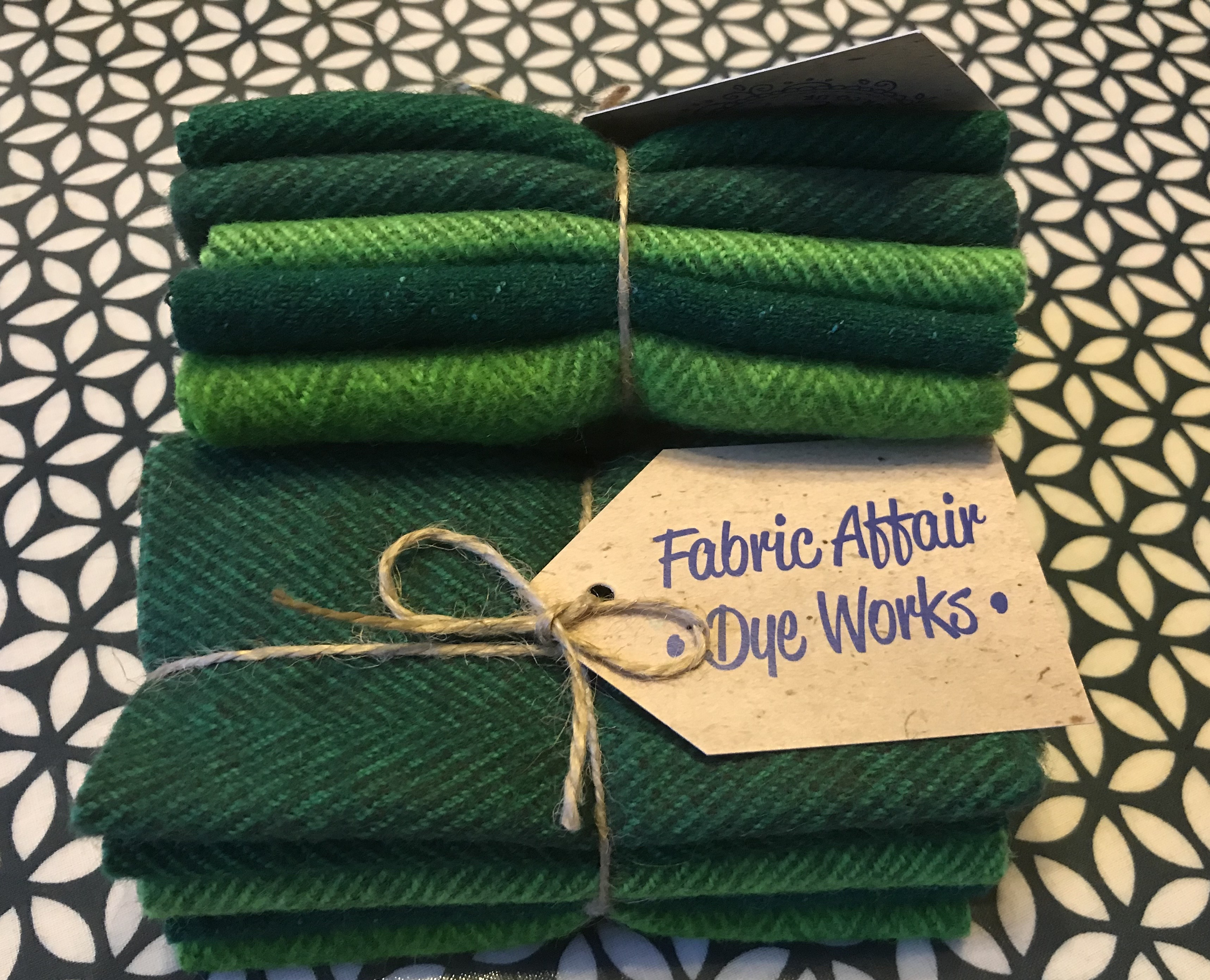"Fabric Affair:""Itsy Bitsy Hand Dyed Wool: St Patricks Day Green."