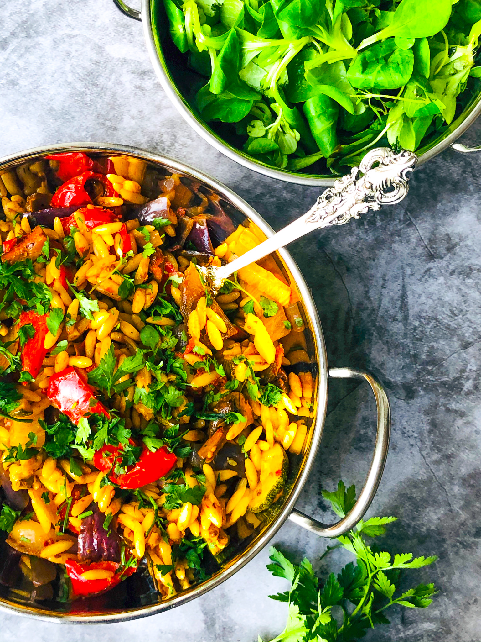 vibrant roasted vegetables with orzo, no food waste recipes