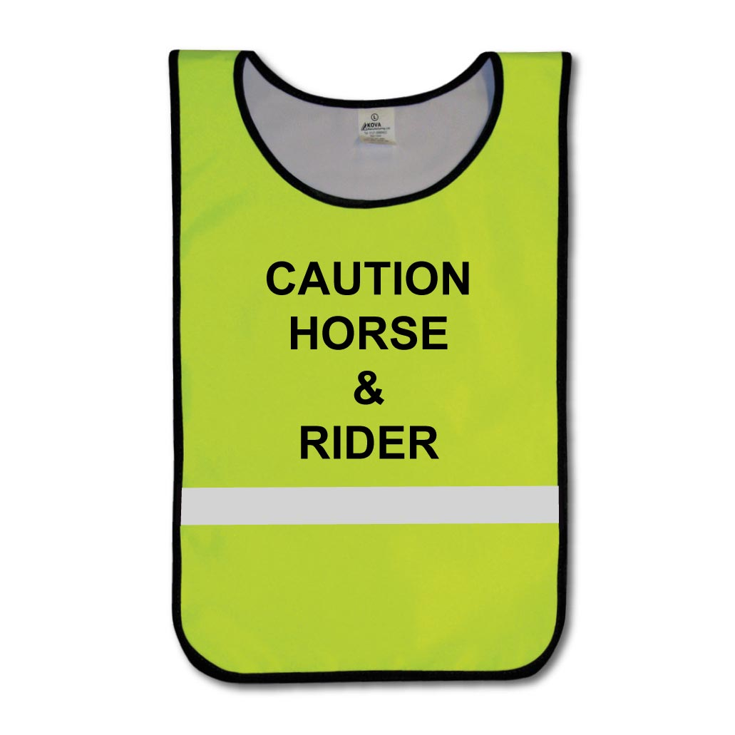 KT0007 Hi Vis Yellow Caution Horse & Rider tabard with reflective strips.