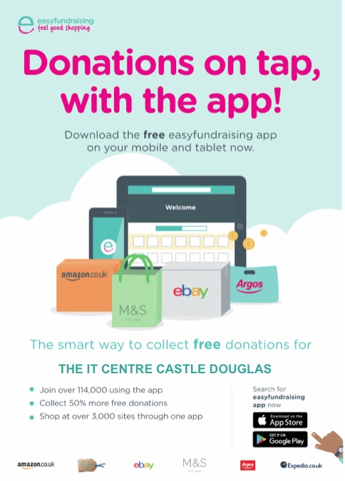 Poster advertising the mobile app for easyfundraising's page for The IT Centre Castle Douglas