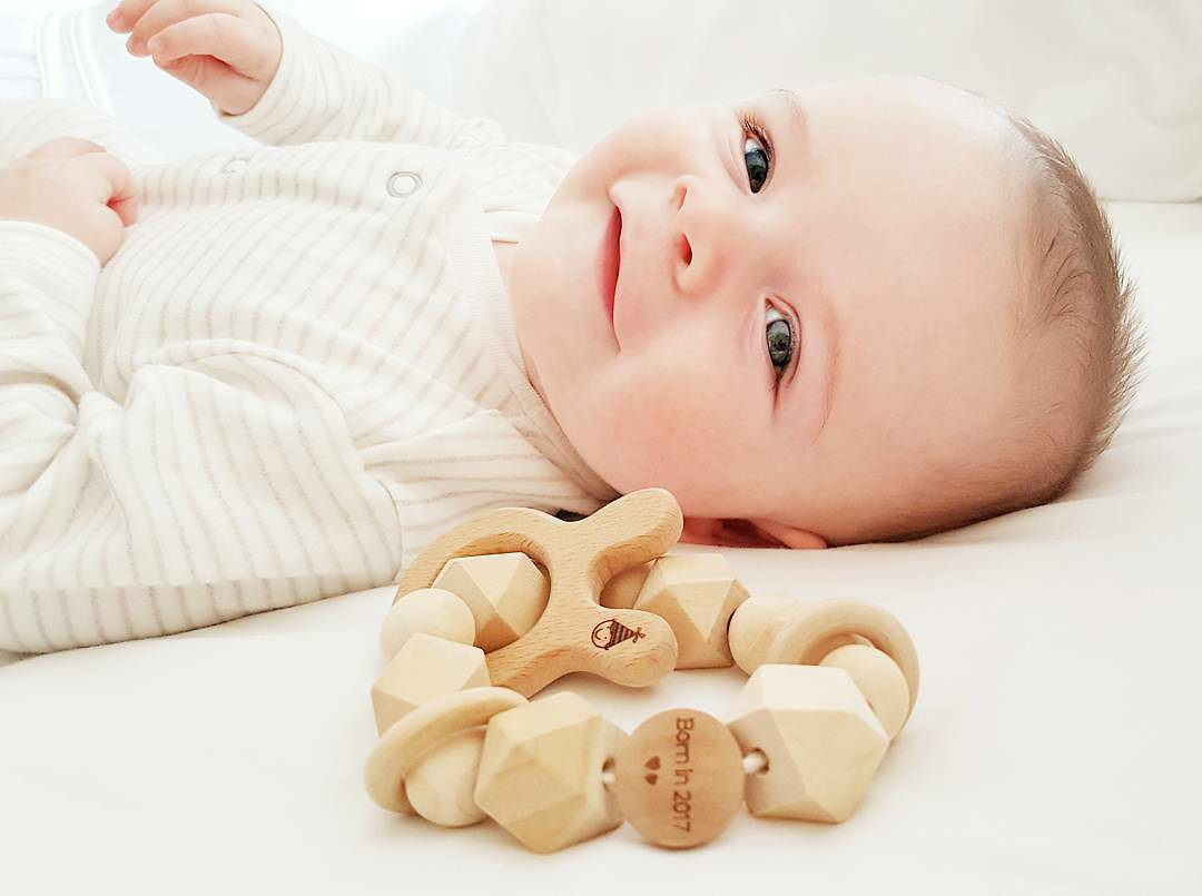 Wooden Teether Rattle - Born in 2019