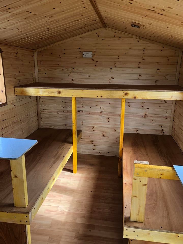 View of the three bunks available in the glamping sheds at Glenquicken Farm Trout Fishery