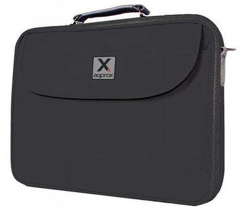 "APPROX LAPTOP BAG CARRY CASE, 15.6"", BLACK/GREY"