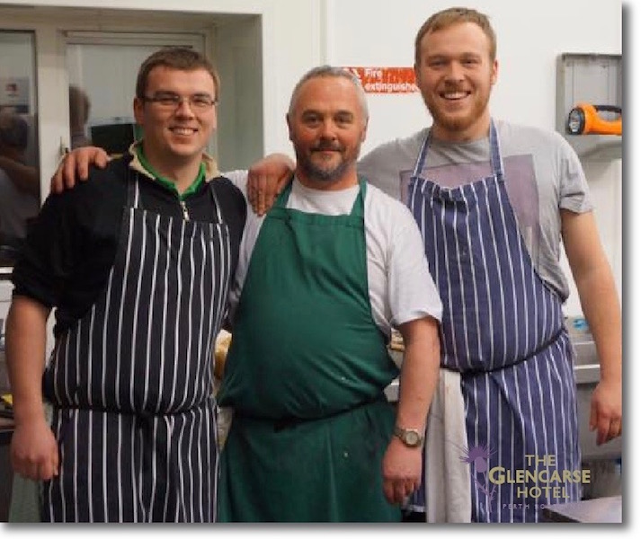 Chef Mike Singer and his team at The Glencarse Hotel Restaurant near Perth, Scotland