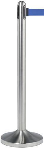 Retractable Barrier Post with Royal Blue nylon Belt – brushed stainless steel